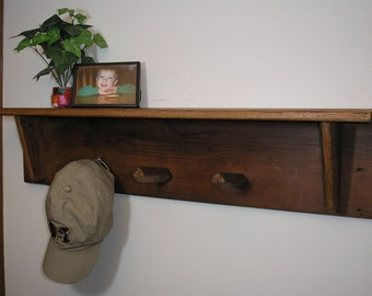Reclaimed wood - 3 foot Peg Rack with Shelf [TC78-3]