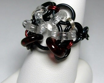 SALE ITEM! 40% OFF Chainmaille Ring- Akimbo- Chainmaille with glass- Black/Clear/Garnet