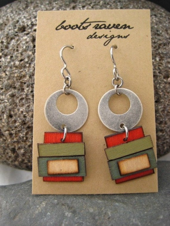 late winter painted wooden silver hoop sculpture earrings 93