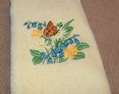 Yellow Tea Towel with Spring Floral Embroidery