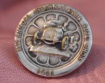 11th Annual International Auto Show Lapel Button 1911