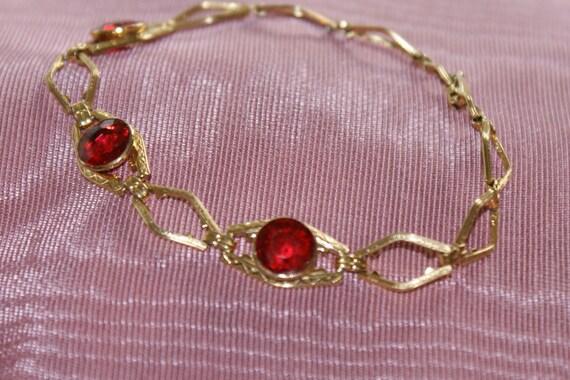 Hold for Vicki* 12kt Gold Filled Bracelet w/ Ruby Stones PR.ST.CO. 1-20