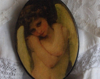 Angel Brooch Vintage Cameo Style Pin with Cupidon