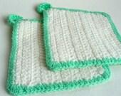VIntage Crochet Pot Holders Set Seafoam Green White Spring Cleaning Home Decor