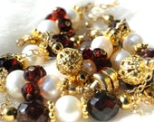 Frankly Scarlet -  Eloquent Faceted Garnet and Freshwater Pearl Necklace