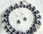 Metalic Beauty - Peacock Pearl and Sterling Silver Necklace and Earrings Set