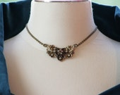 RESERVED FOR TINA  ------ Antique garnet and rhinestone brass necklace