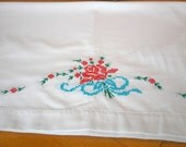 Vintage pillowcase pair embroidered red roses blue ribbon