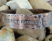 Regret Nothing...  Rustic leather cuff bracelet