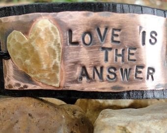 Love is the Answer... hand stamped cuff bracelet
