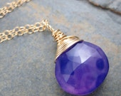 Purple Chalcedony - Hard Candy -  Briolette Charm Pendant in 14kt Gold Filled
