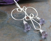 Circles and Drops - Amethyst Briolettes on Sterling Silver