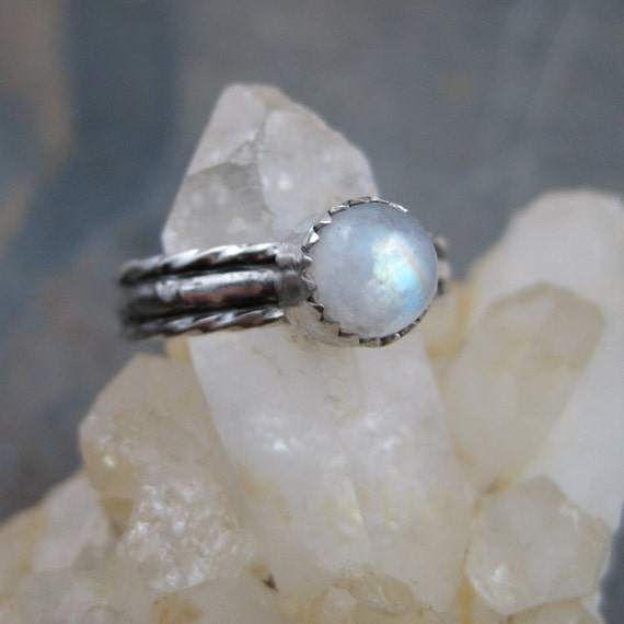 Oxidized Rainbow Moonstone Band - Sterling size 5.5