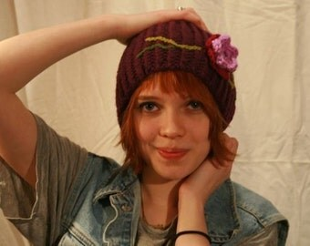 Winter Knit Hat, Ribbed Beanie with Floral Embellishment