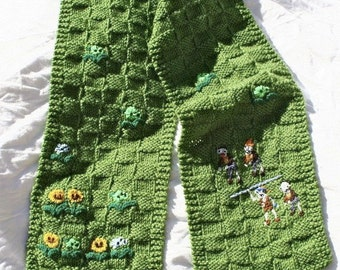 Plants vs Zombies Hand Knit Winter Scarf with Embroidery