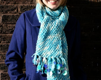 Frosty Turquoise Blue, Bias-Knit Scarf w/ Spangles
