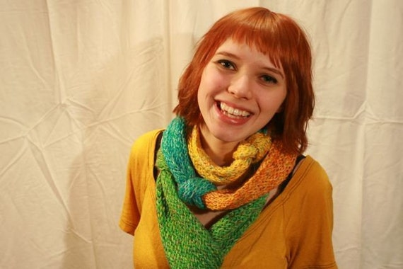 Carnivale Color Block Knitted Rope Scarf
