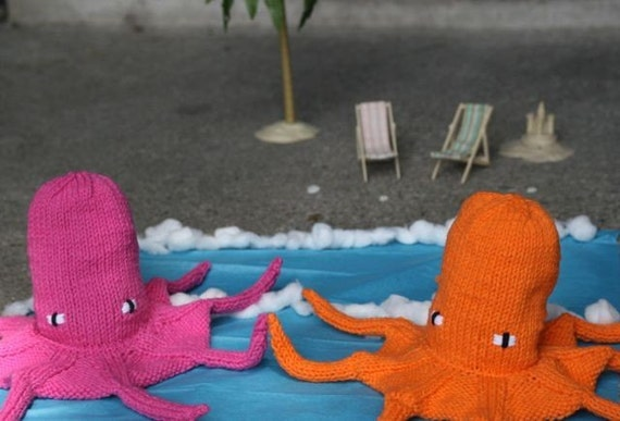 Hand Knit Neon Octopus Drawstring Purse