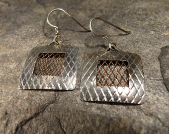 Sterling Silver and Copper Mesh Earrings