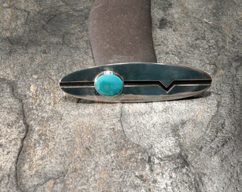 Sterling Silver and Turquoise Brooch- Pin