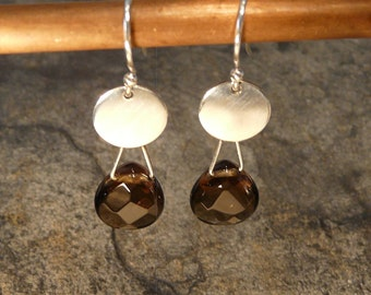 Sterling Silver and Smoky Quartz  Earrings