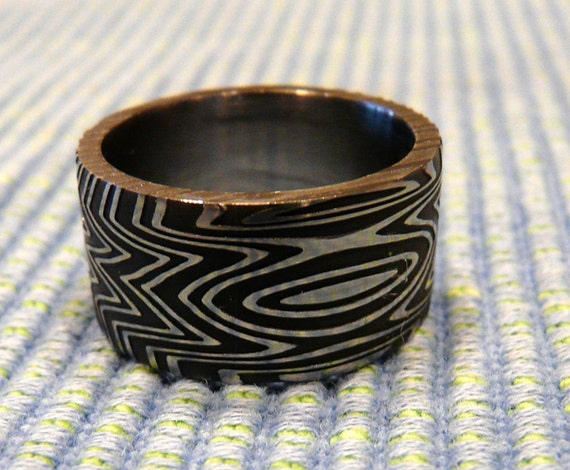 Damascus Stainless Steel Ring, Wedding Band Hand Made