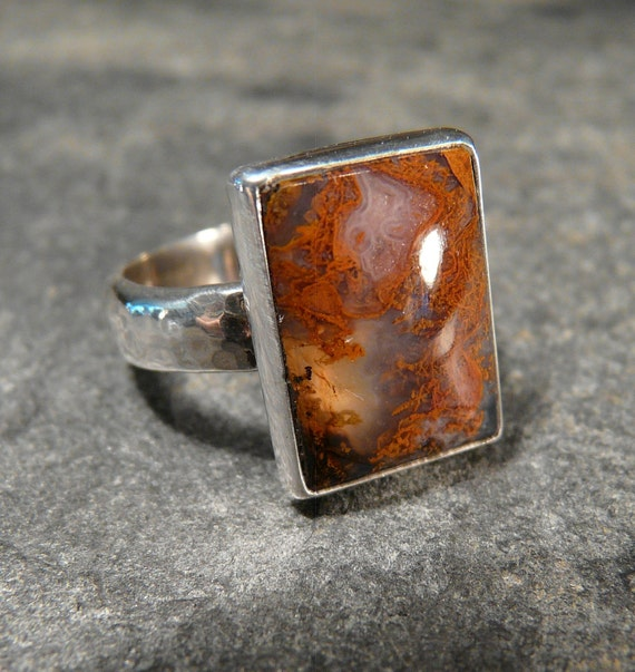 Sterling Silver and Moss Agate Ring OOAK