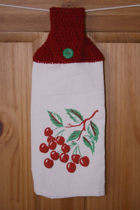 Kitchen Towel with Crochet Topper by PeawaddleDesigns on Etsy