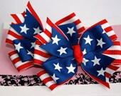 4th of July Bows - Set of 2 Patriotic Stars and Stripes Stacked Pinwheel Hair Bow Clips or Pony O's
