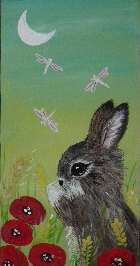 Original Acrylic Painting Naive Art Bunny Rabbit Poppy