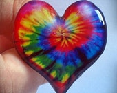 Groovy Tie Dye Adjustable Resin Heart Ring