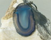SALE Agate freeform slice, beautiful blue-grey stone in swirls of color