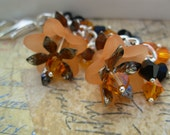 Orange and Black, Crystal and Flowers Interchangeable Necklace Charm