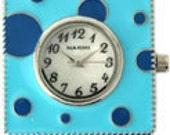 Blue Polka Dot, Square, Interchangeable, Watch Face, Black Numbers