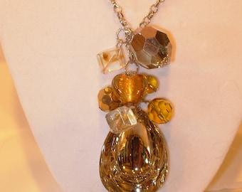 Amber Lampworked Glass Teardrop Necklace, Beautiful