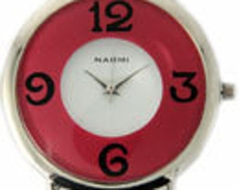Double Dial Watch Face, Hot pink, black, silver and White