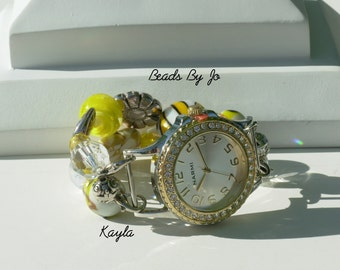 """Double Stranded Interchangeable Beaded Watch Band, """"Kayla"""" in bright yellows, it's a bright sunshiney day"""