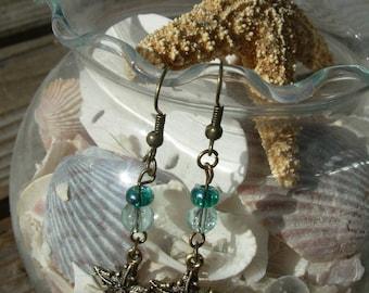 Ocean Blue By the Sea Starfish Earrings, beautifully elegant