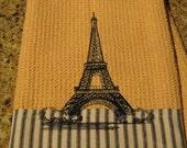 Eiffel Tower (Butter) - Black & White Ticking Edge - Microfiber Waffle Weave Kitchen Hand Towel