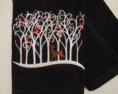 Deer - Filigree Christmas Forest (Black) - Fingertip Velour Bathroom Towel - JD Designs