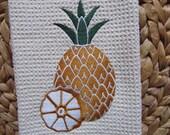 Pineapple (Cream) - Microfiber Waffle Weave Kitchen Hand Towel
