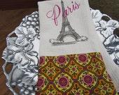 Eiffel Tower with Paris (Cream) - Gypsy Garden by Genevieve Gail - Microfiber Waffle Weave Kitchen Hand Towel