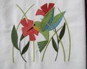 Hummingbird in Flowers - Kitchen Flour Sack Towel - Gourmet - Natural Cotton