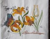 Tiger Lily Botanical - Kitchen Flour Sack Towel - Gourmet - Natural Cotton