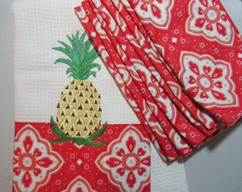 COMBO SET - Pineapple - (Kitchen Towel and 8 Dinner Napkins) - Microfiber Waffle Weave Towel