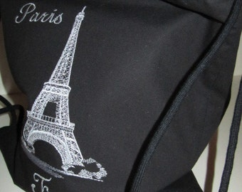 Backpack Tote - Eiffel Tower Paris France  (Kids - Teenagers - Adult) Only Totes by JD Designs