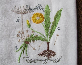 Dandelion Botanical - Kitchen Flour Sack Towel - Gourmet - Natural Cotton