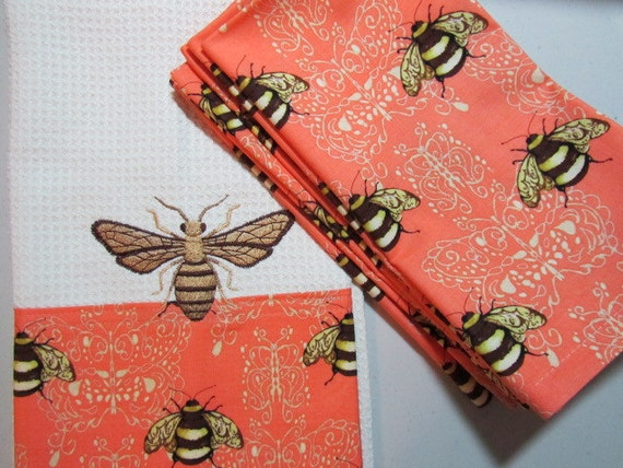 COMBO SET - French Napoleonic Bee - (Kitchen Towel and 8 Dinner Napkins) - Microfiber Towel