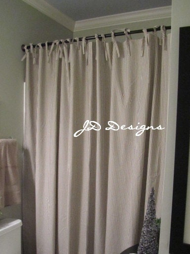 Extra Long Shower Curtain With Ties 104x86 Black And White