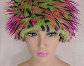 Lime Green, Fuchsia and Purple Faux Fur Hat, hippie
